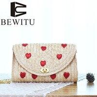 BEWITU 2017 new straw bag cute fruit pattern holding knitting bag girl sen female sweet and lovely style shoulder Messenger bag