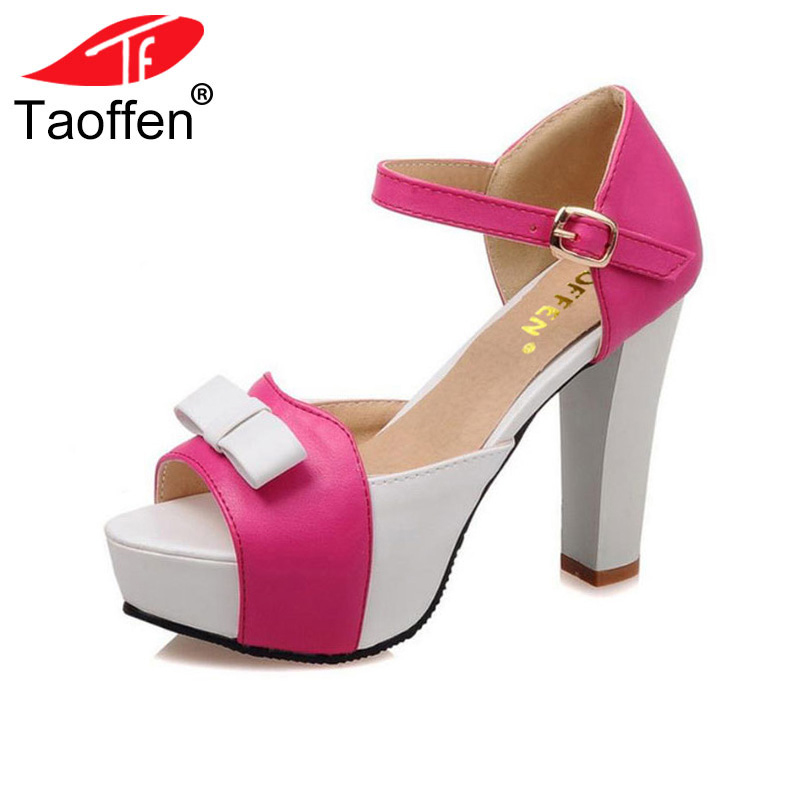 TAOFFEN Women High Heel Sandals Fashion Bowtie Open Toe Platform Shoes Wmoan Thick Heeled Ladies Footwear Size 34-43 PA00769 taoffen women high heel sandals open toe pleated concise slippers solid color shoes women footwear summer party size 34 39