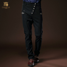 Free Shipping New fashion male trousers men's casual Slim 2015 winter slim printing black jeans trousers 8062 custom-made