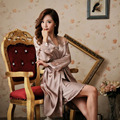 Imitation Silk Nightwear Promotion 2016 Fashion Women Gown Set Sexy Night Skirts V Neck Full Sleeve Sleepwear