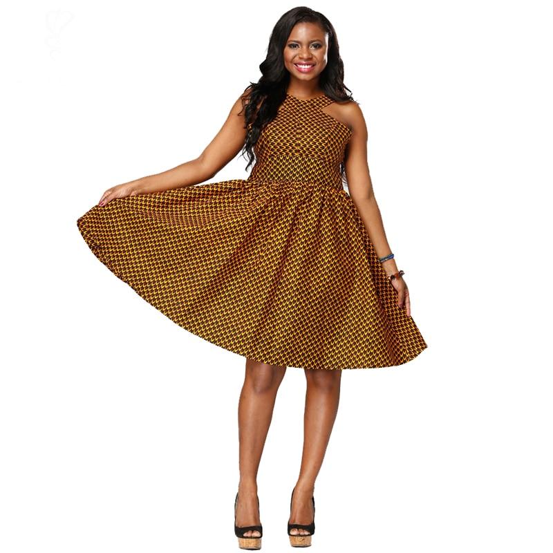 shenbolen 2018 summer fashion  lady dress ankara printing wax fabric Africa batiks women sleeveless dresses
