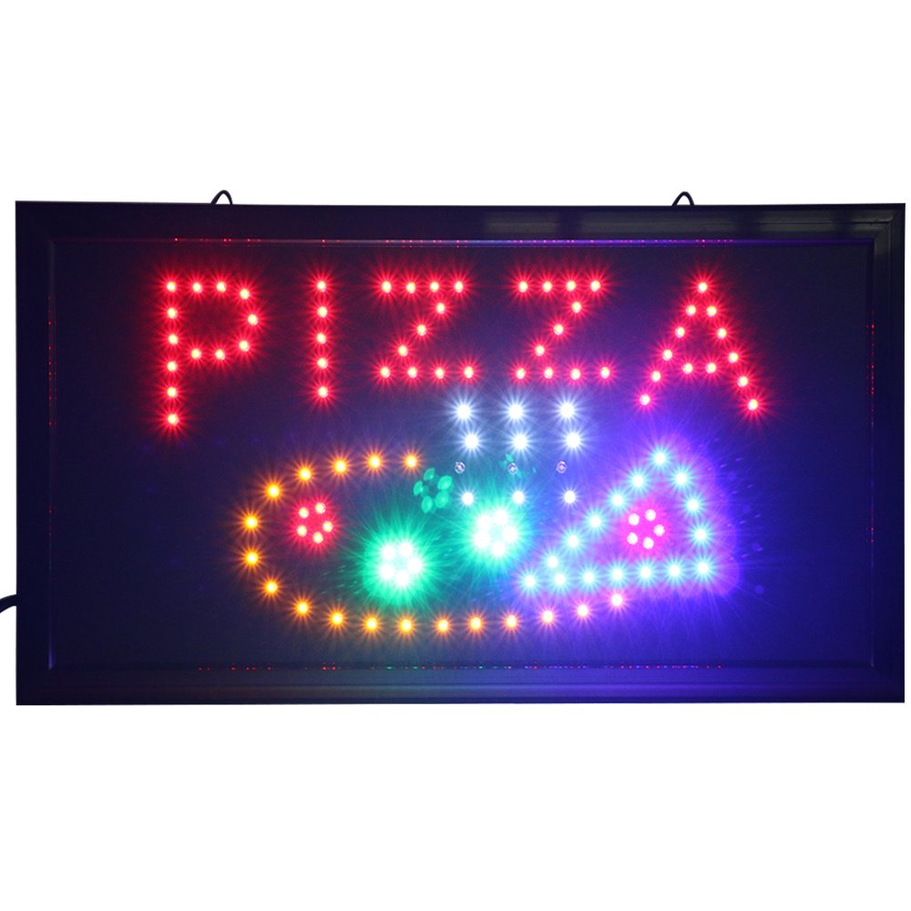 Neon Flashing Pizza Sign Fast Food Shop Restaurant Take Away Bar Window Door