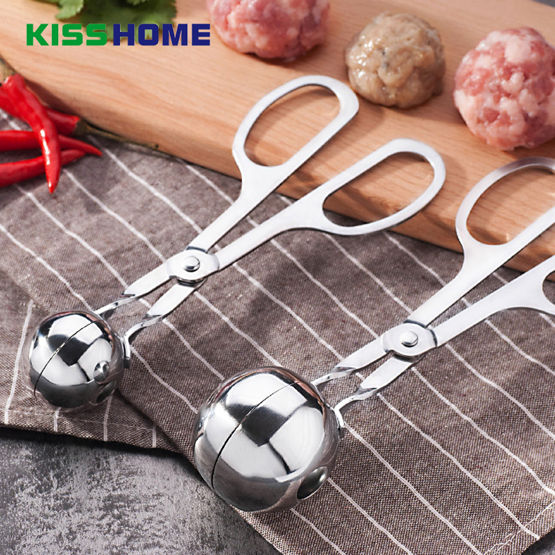 2 Size Fantastic Kitchen <font><b>Meatball</b></font> <font><b>Maker</b></font> Stainless Steel Meat & Poultry Tools DIY Fish Meat Ball <font><b>Maker</b></font> <font><b>Meatball</b></font> Mold Tools image