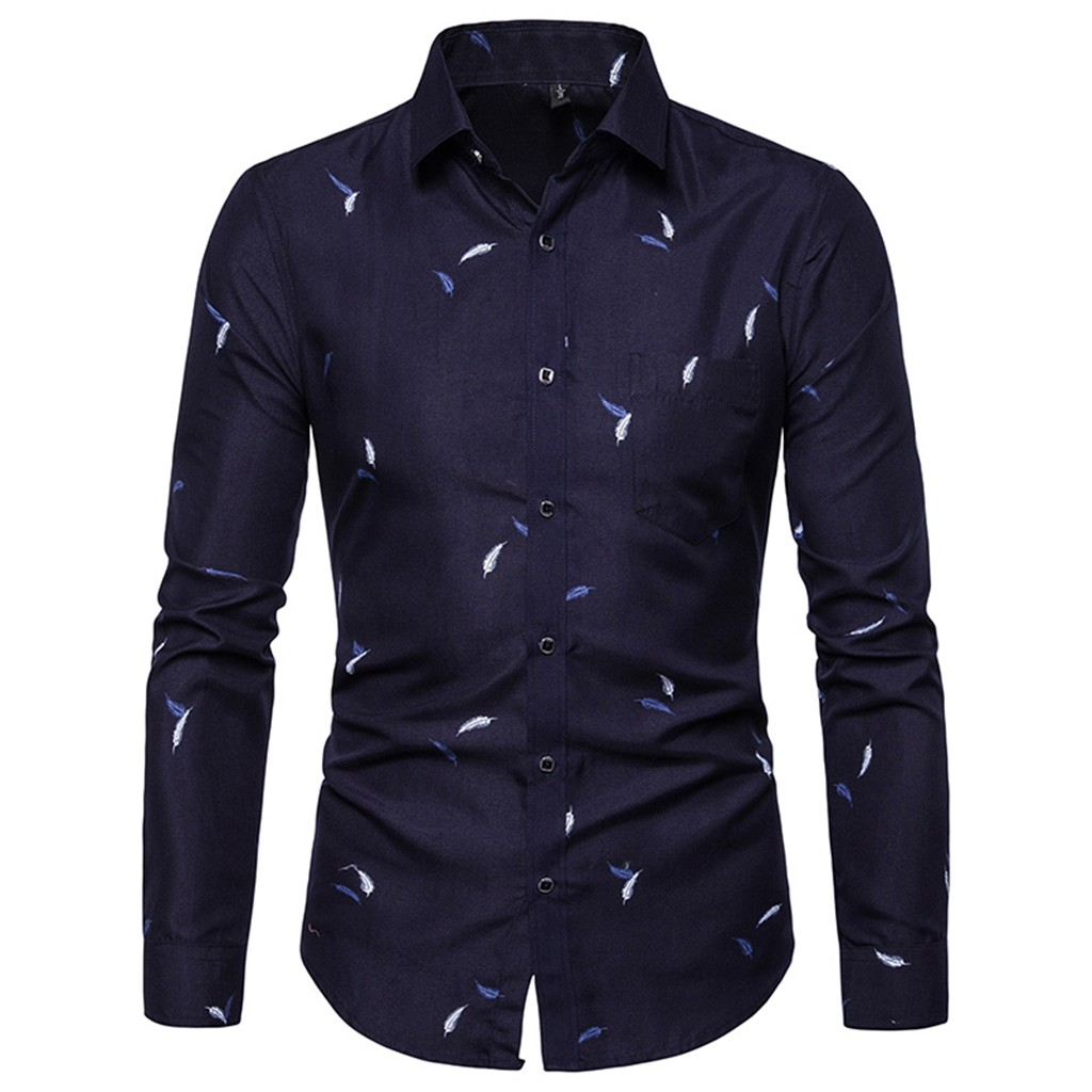Shirts Men Dress Long Sleeve Slim Fit Top Blouse Turn Down Collar Shirt With Buttons Fashion Business Social Camisas Masculina