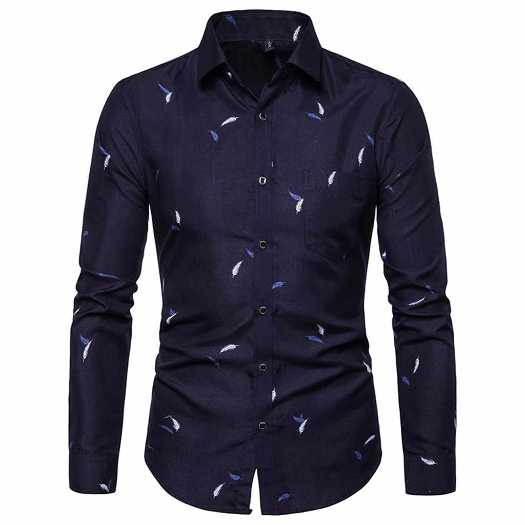 Shirts Mannen Jurk Lange Mouwen Slim Fit Top Blouse Turn Down Kraag Shirt Met Knoppen Fashion Business Sociale Camisas Masculina