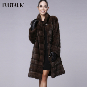 FURTALK Real Natural Mink Fur Coat Women Winter Long Jacket for Female High quality Clothes Custom Size - discount item  41% OFF Coats & Jackets