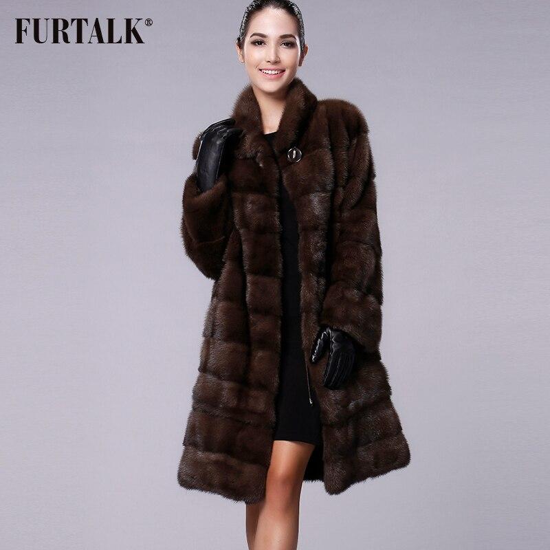 FURTALK Verdadeiro Mink Naturais Casaco De Pele Das Mulheres de Inverno Longo Casaco de Pele De Vison Casaco De Peles para o Sexo Feminino Roupas de Pele De Alta qualidade tamanho personalizado