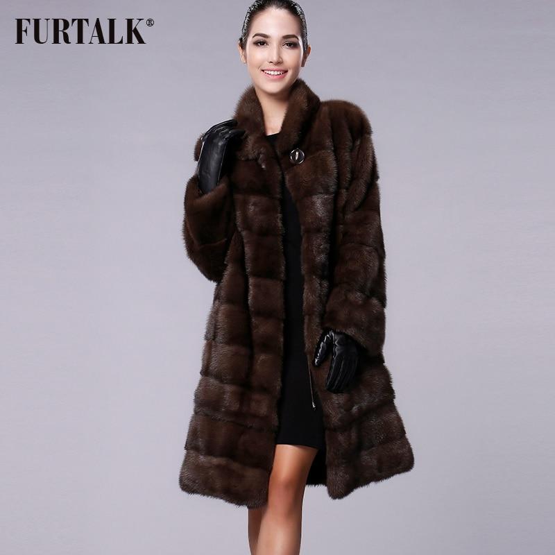 FURTALK manteau de fourrure de vison naturel réel femmes hiver Long manteau de fourrure de vison veste de fourrure pour femme de haute qualité vêtements de fourrure taille personnalisée