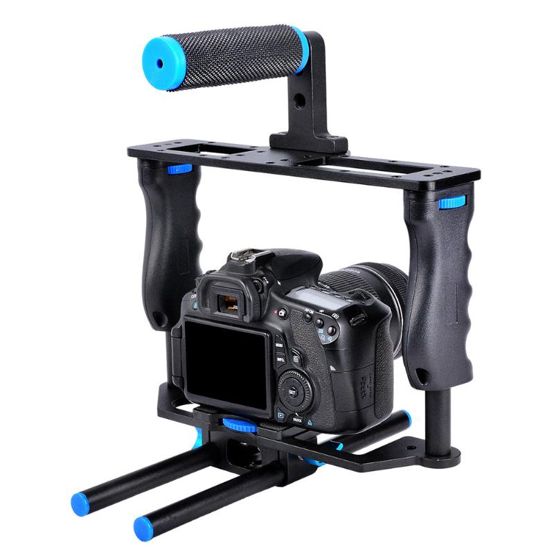 Aluminum Alloy Camera Video Cage Stabilizer Shooting Accessory with Handle for Panasonic GH4 A7S A7 A7R A7RII A7SII solar powered 0 64w 10lm 200 led blue light garden christmas party string fairy light blue 20 5m