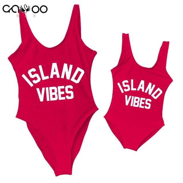 4194a27e1da6c ISLAND VIBES Mom Baby Swimwear 2018 New Sexy One Piece Swimsuit Girls  Backless Bather Thong Monokini Bodysuit Kids Bathing Suit
