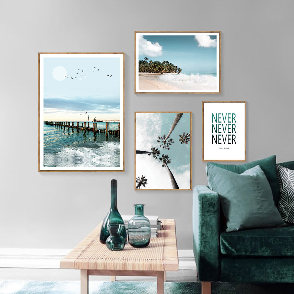 Nordic Canvas Painting Landscape Poster Sea Pictures Green Plants Poster Green Canvas Art Print Canvas Painting Quotes Unframed in Painting Calligraphy from Home Garden