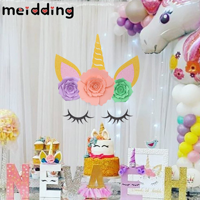 Meidding 1set Unicorn Party Unicorn Horn Eyelashes Ear Kids Birthday
