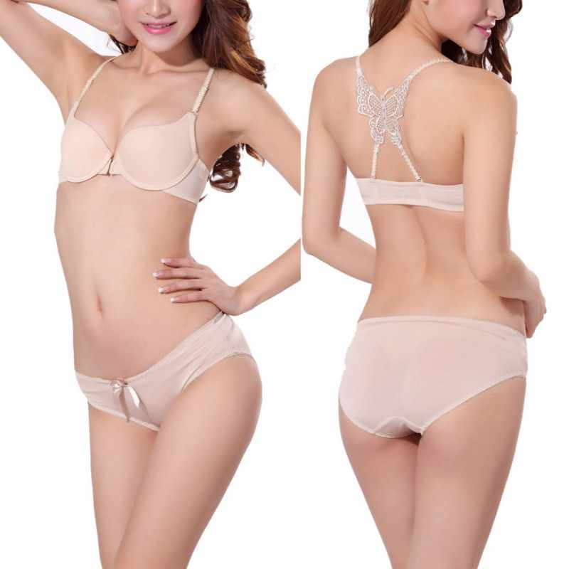 efe4a736e4 ... Sexy Women Bra Front Buckle One Piece Wire Free Push Up Bra Butterfly  Beauty Back 3 ...