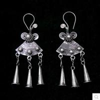 FREE Shipping National Wind Retro Earrings Pure Handmade Miao Earrings Female Models Trumpet To Do The