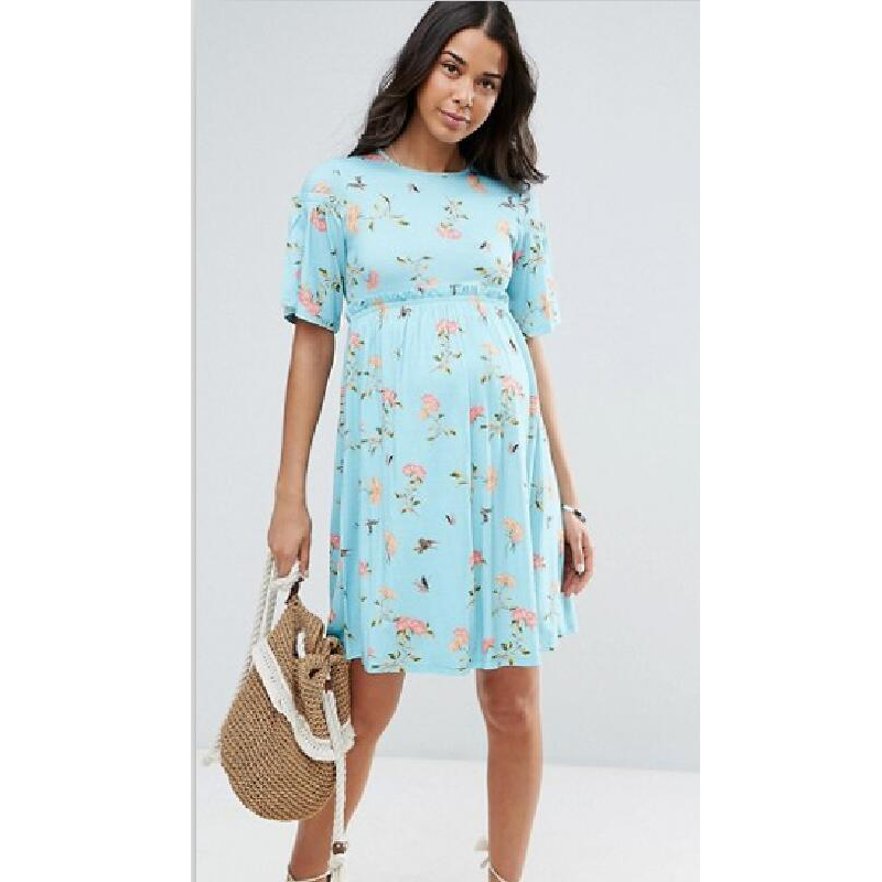 Pregnancy Dress Maternity Clothes Flower Printing Casual Style Fashion Dress Horn Short-sleeved Vestido Gestante Fotografia