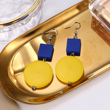 Vintage Round Wooden Long Dangle Earrings Female Style Yellow Geometric Wood Drop For Women Fashion Accessories 2019