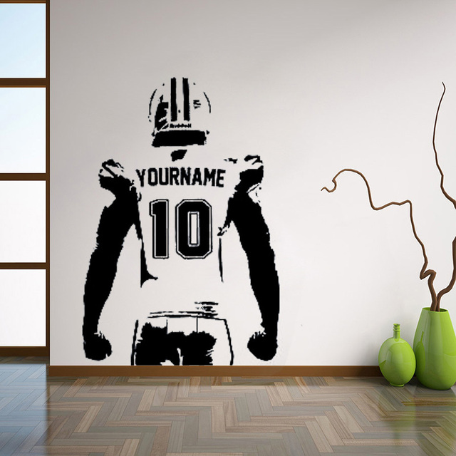 Custom name wall sticker choose name numbers personalized large player jersey vinyl sticker decor for
