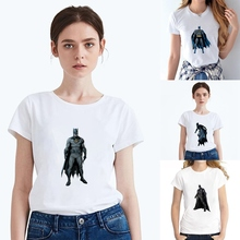 Plus Size Summer Cool Superhero Movie Batman Modal Womens O-neck Short Sleeve Leisure fashion Cotton White T-Shirt