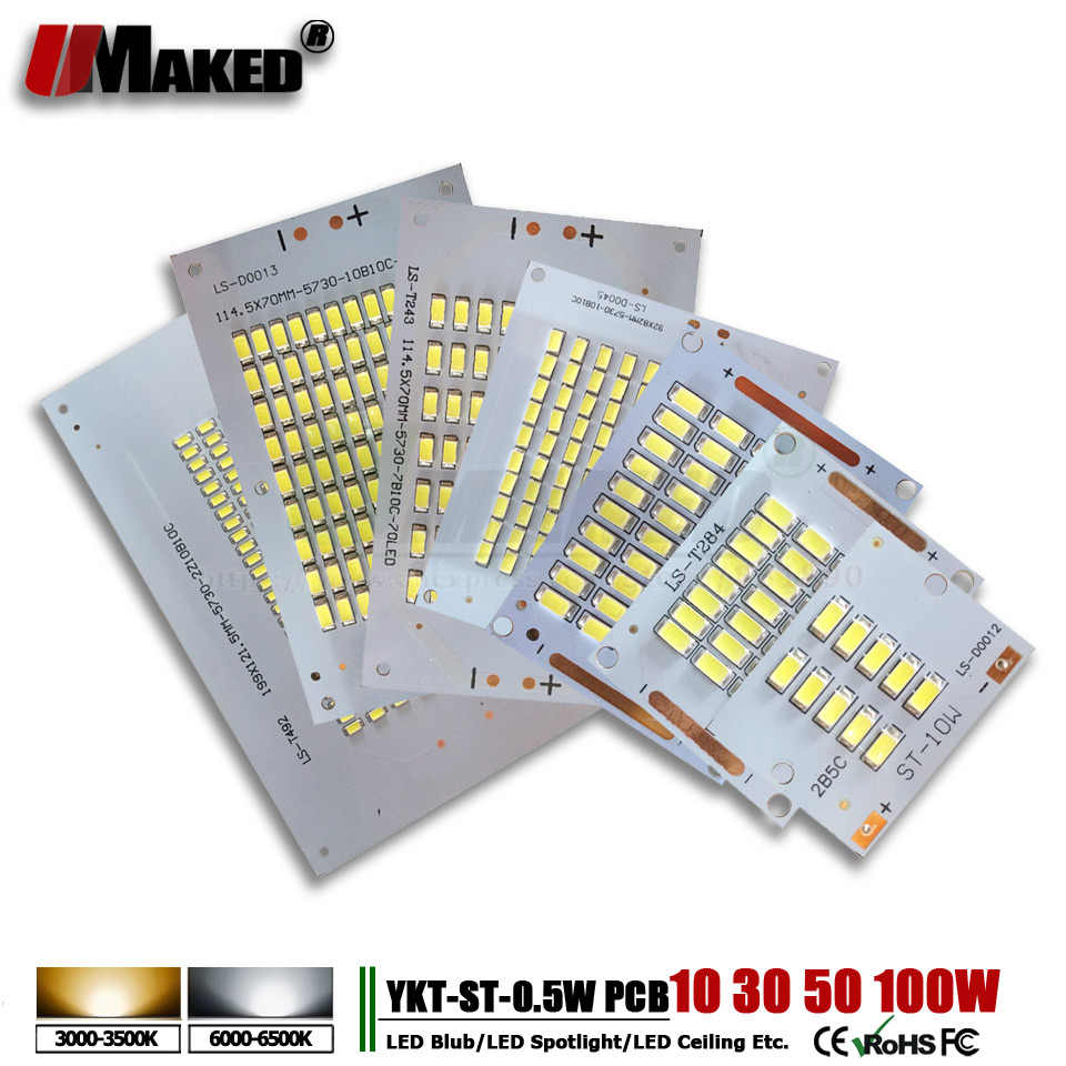10 stks LED pcb schijnwerper pcb Aluminium lamp plaat 10 w 30 w 50 w 70 w 100 w 200 w SMD5730 led Verlichting Bron lingts voor buitenverlichting