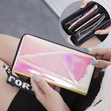 2019 Women Long Wallet Clutch Laser Purse Zipper Phone Coin Pocket PU Leather Billfold