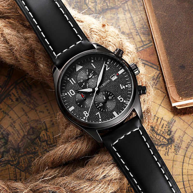 Reloj de pulsera de cuarzo a prueba de agua con cronógrafo de cuarzo negro de cuarzo para hombre