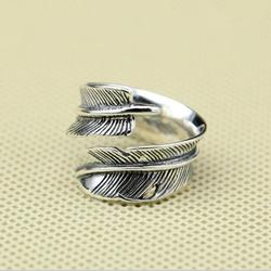 Vintage indian feather ring men women solid 925 sterling silver cuff ring handmade black antique silver.jpg 250x250