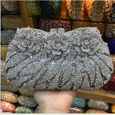 XIYUAN BRAND Luxury Crystal Diamond Evening Clutch Bag bridal Wedding Sparkly Rhinestone Cocktail banquet Bag pochette Purse luxury red crystal diamond flower women evening clutch bag bridal wedding sparkly rhinestone cocktail banquet bag tyvek wallet