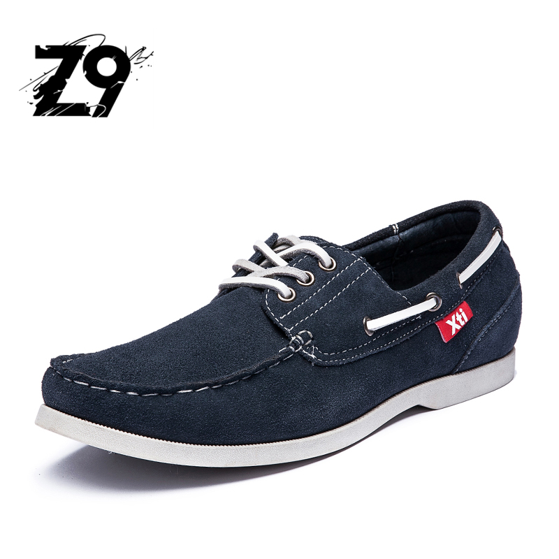 Top men boat shoes moccasin style comfortable summer flats cow suede handmade quality leather classic Three eyes lace up shoes