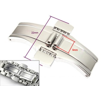 304 Metal Watch Band Buckle 5 x 22mm Watchband Strap Silver Stainless Steel Clasp Butterfly Button For TISSOT Other watches 22mm quick release ceramic watchband tool for tissot longines mido luminox seiko watch band steel butterfly clasp wrist strap