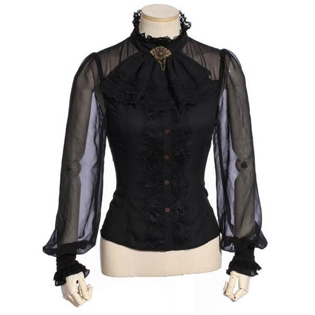 3485d58360 Victoriana Steampunk de encaje gótico Tops de manga larga negro Blusa con  Chorrera SP180BK