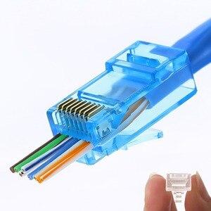 Image 1 - 50/100pcs Rj45 Connettore Cat5e Cat6 Connettore di Rete Schermato 8Pin modulare utp rj45 tappi per le orecchie hanno foro HY1525