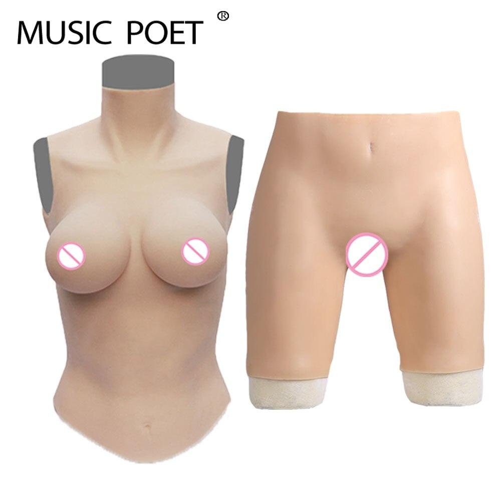 MUSICA POETA Silicone crossdressr falso forme del seno e falso della vagina per transgender tit Artificiale Boobs Enhancer
