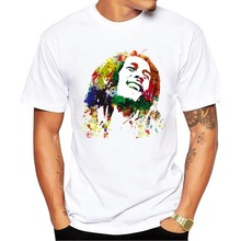 E-BAIHUI New Fashion Men Music Style T Shirt Bob Marley Print Mens T-shirt Homme Brand Clothing Rock Hip Hop Tee G003