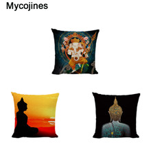 Cushion Cover With Chinese Style Square Print Cushion Covers Buddha Throw Pillow Case Decorate Sofa Linen Cotton Zen Pillowcases castle buddha shadow chinese polyester toss throw pillow square cushion gift