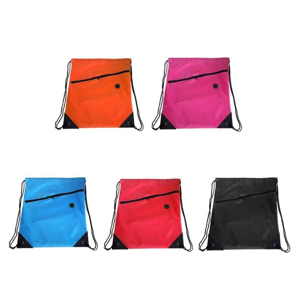 Storage Bags 5colors Drawstring Bag Bright Schoolbag Pe Gym Sports Backpack Swim Organization Storage Bag With Zipper
