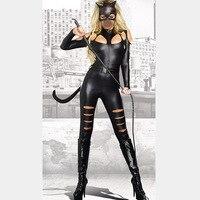 Fancy Halloween Cosplay Jumpsuit Women Sexy Leather Leopard Cat Costume Uniform Catsuits