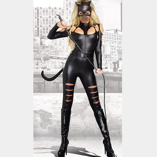 Fantasia de Halloween Cosplay Uniforme Catsuits Jumpsuit Mulheres Sexy Leopardo De Couro Traje Do Gato
