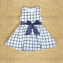 Blue Plaid sleeveless Princess Dress Party Girls costume