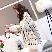 2018 New Spring Winter Women Loose Cardigan Female Coat Long Korean Mohair Sweaters Thickened Outwear Jackets