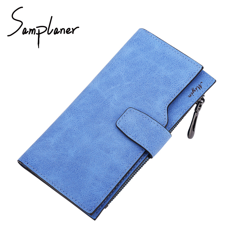 Samplaner Brand Long Women Clutch Wallets Leather Card Holder Female Wallet 2017 Women's Purse Coin Money Bag Cuzdan Portomonee yuanyu 2018 new hot free shipping real python leather women clutch women hand caught bag women bag long snake women day clutches