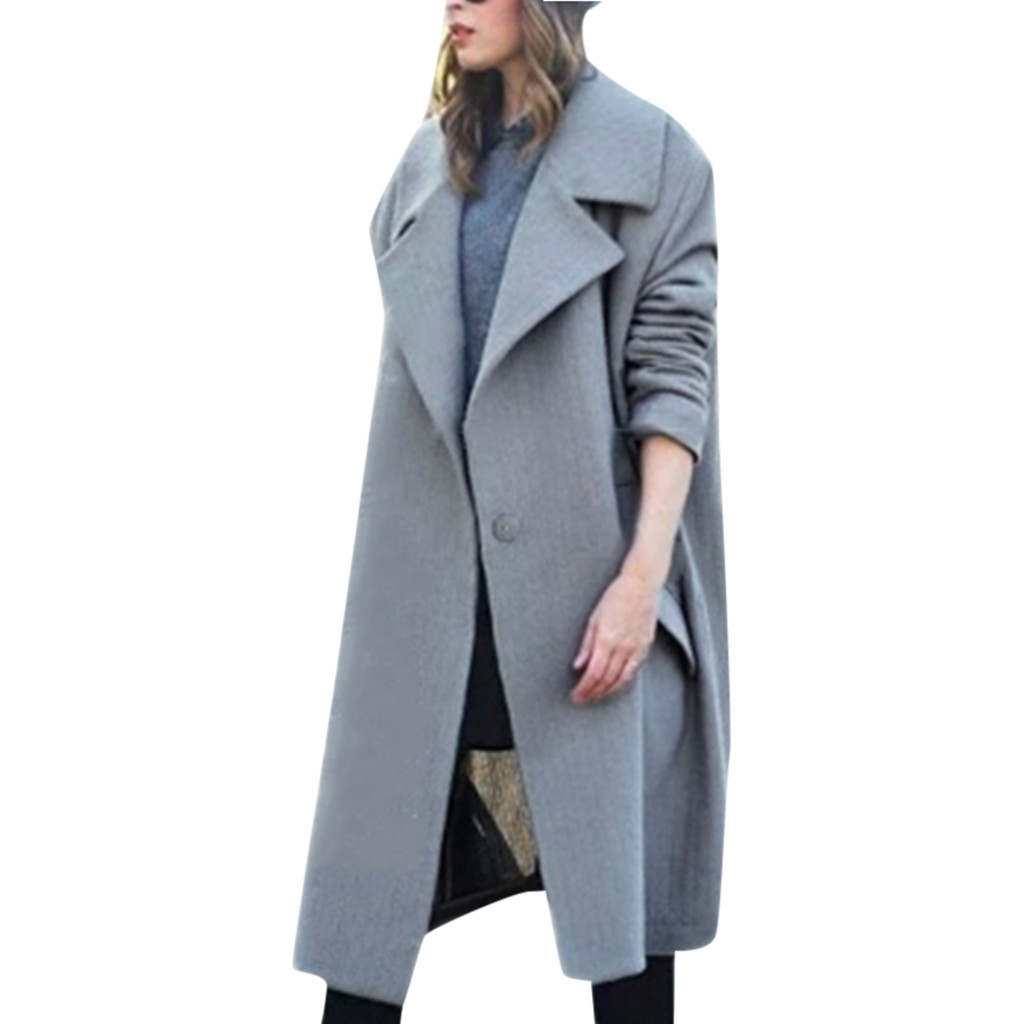 CHAMSGEND Fashion Womens Winter Coat High Quality Solid Lapel Wool Coat Button Trench Jacket Loose Plus Overcoat Outwear No24