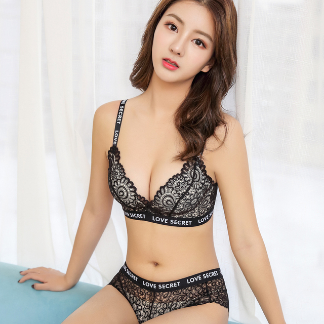 8d63dbc90ecb6 Sexy lace no rims bra straps gathered on the shoulder straps gather small  breasts thickened girls underwear bra set