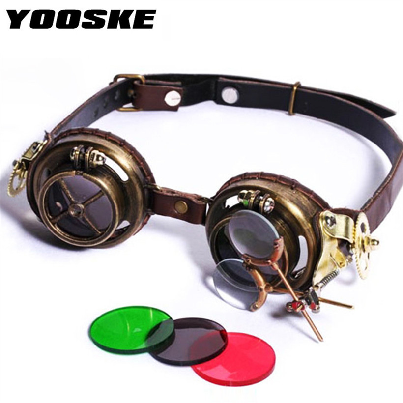 YOOSKE Goggles Sun Glasses Mens Hand Sewn Steampunk Sunglasses Round Metal Polarized Lens Glasses Lens Are
