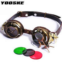 Yooske ретро круглый стимпанк Солнцезащитные очки для женщин Для мужчин поляризационные панк Защита от солнца Очки для Для женщин готические