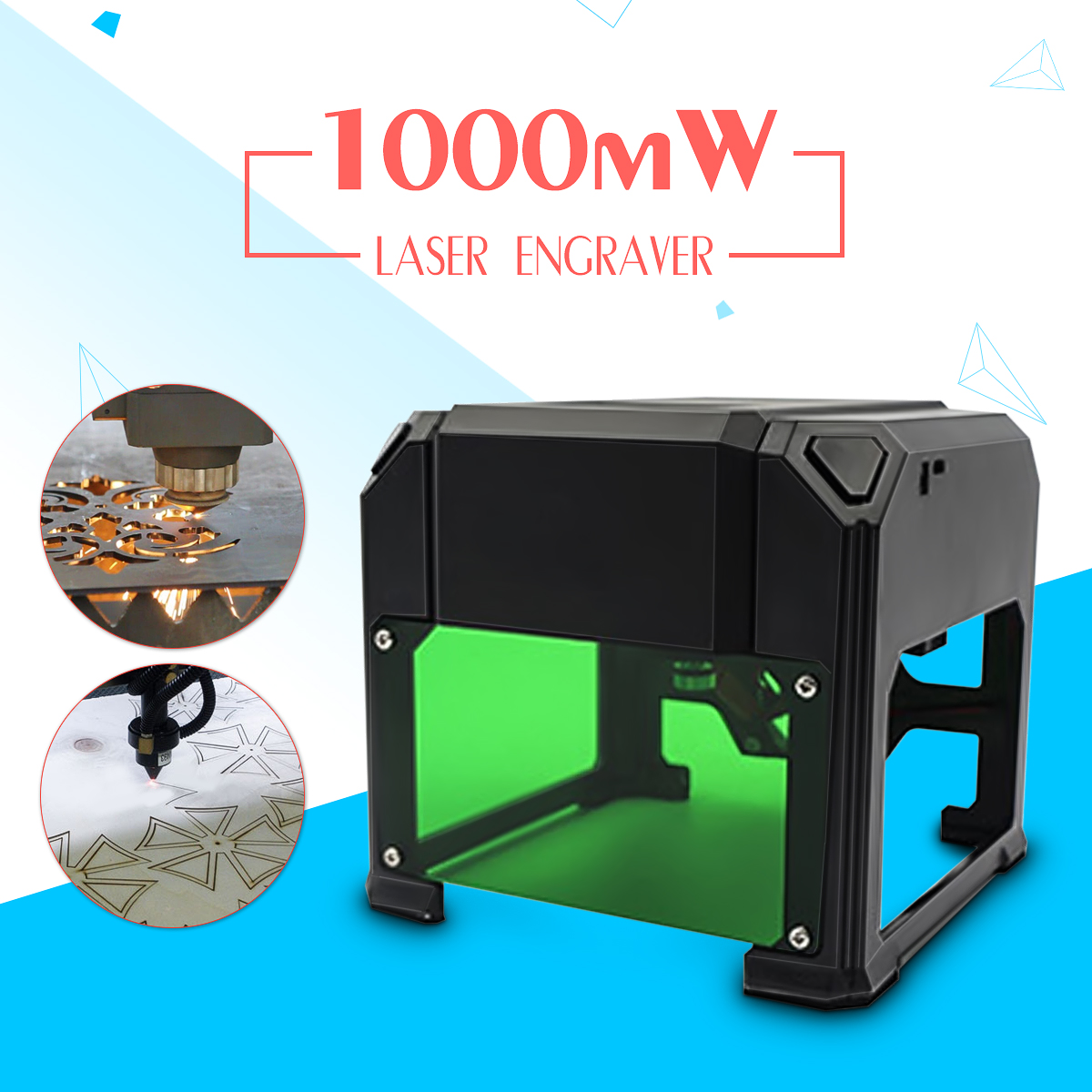 1000mW Desktop Laser Engraver DIY Logo Mark Printer CNC Cutter Laser engraving Machine 80x80mm Engraving Range 1000mw diy desktop mini laser engraver engraving machine laser cutter etcher 50x65cm adjustable laser power