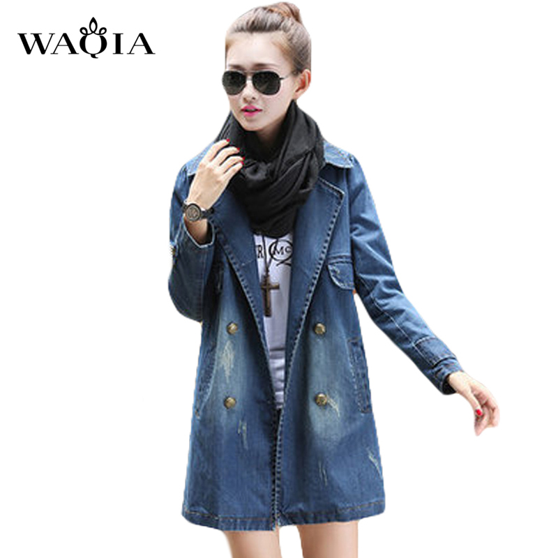 Long Jean jacket 2017 Fashion Spring Womenu0026#39;s Clothing Double Breasted coat Denim Jacket Long ...