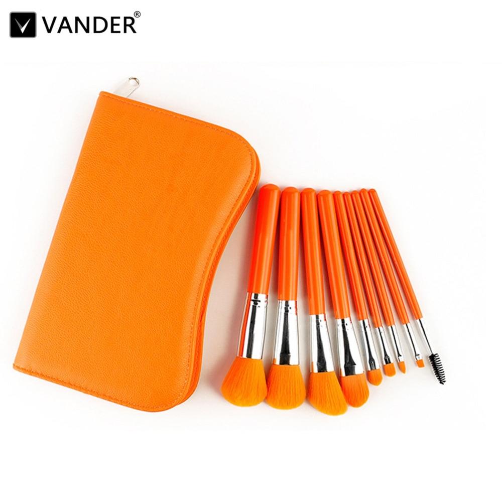 Vander 9 Pcs/set Makeup Brushes Synthetic Hair Makeup Brush Set Orange Make Up Brushes For Face Blush Eye Shadow Cosmetics Brush