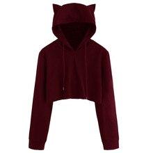 Hxroolrp Womens Cat Ear Long Sleeve Hoodie Sweatshirt Hooded Pullover Tops Blous