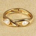 Top qualidade moda Subiu pulseiras de Ouro para as mulheres com Pérola Aberto pulseiras bangles jóias