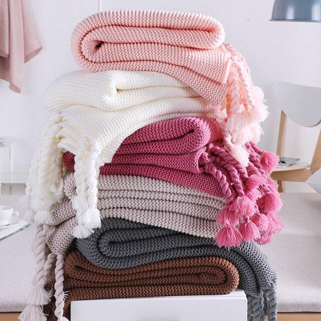 130x170 Cm 1 Stücke Häkeln Quaste Gestrickte Decke Kinder Baby Decke
